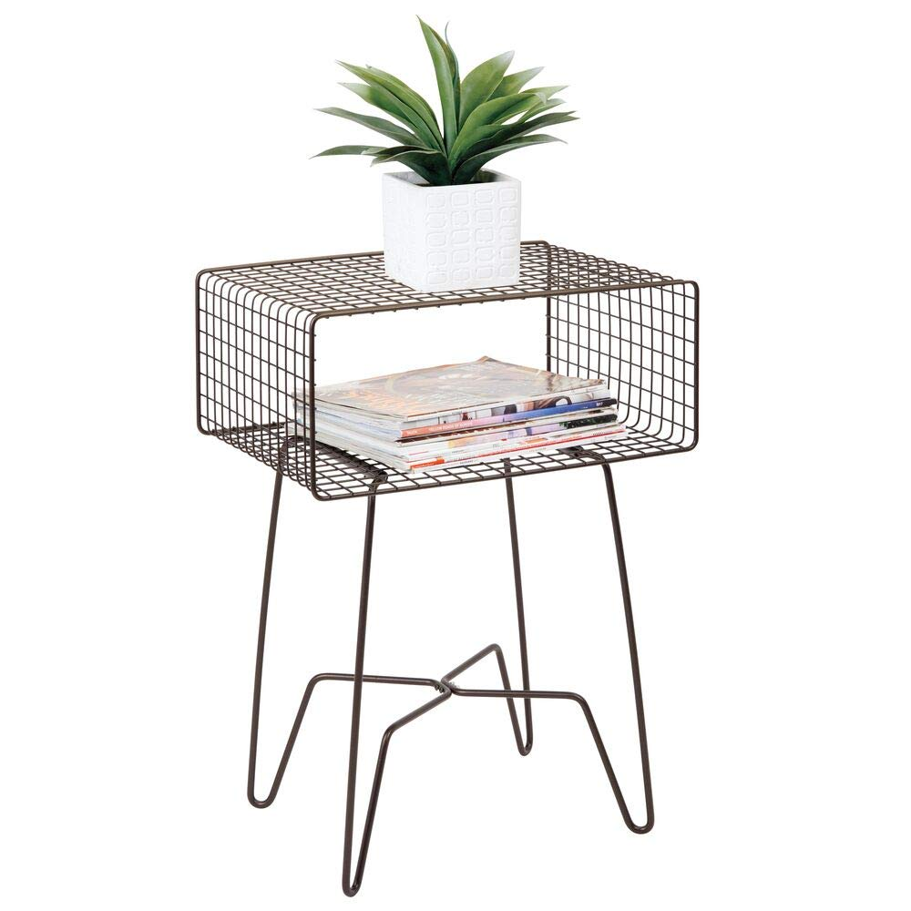 mDesign Modern Farmhouse Side/End Table - Metal Grid Design - Open Storage Shelf Basket, Hairpin Legs - Sturdy Vintage, Rustic, Industrial Home Decor Accent Furniture for Living Room, Bedroom - Bronze
