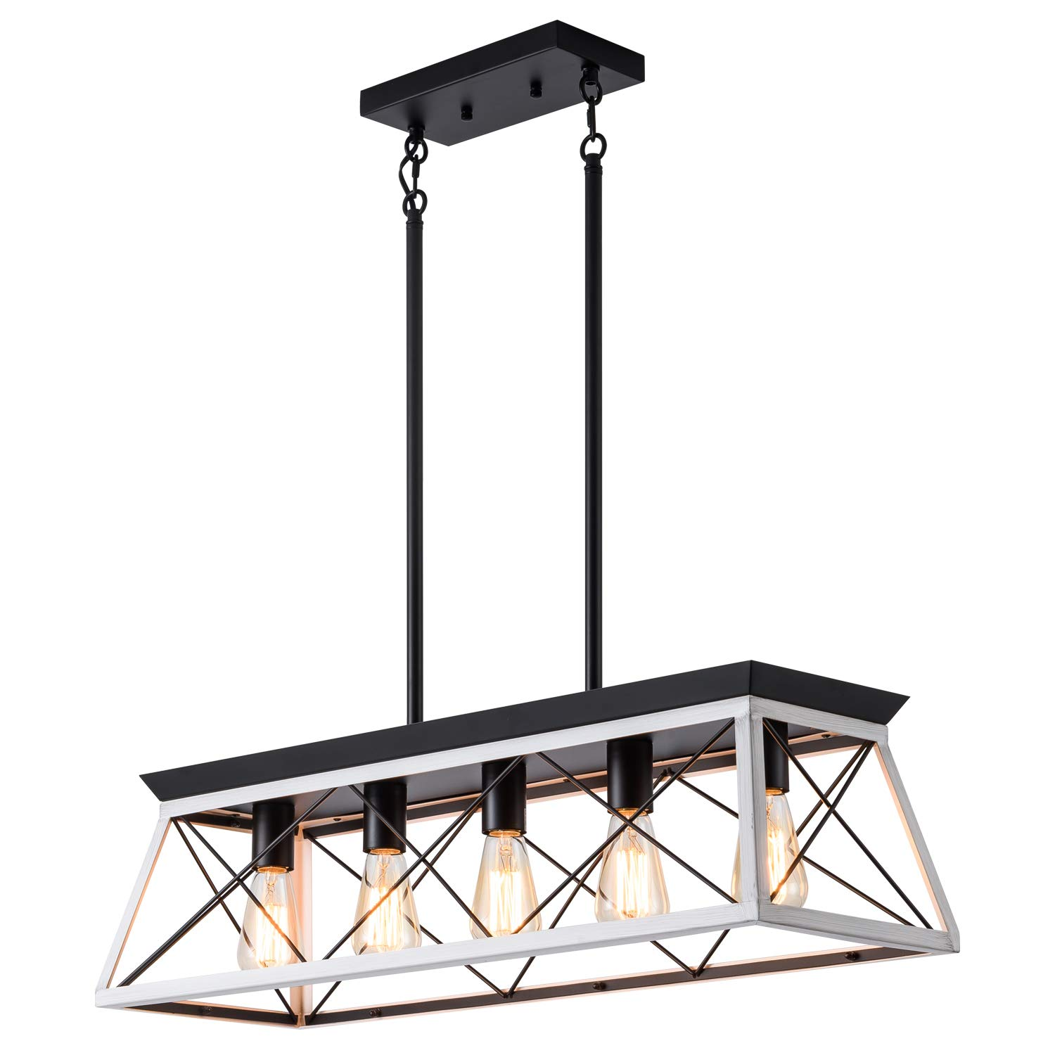 XIPUDA 5-Light Linear Pendant Light Fixture Kitchen Island Lighting Industrial Metal Farmhouse Chandeliers for Dinning Room Living Room