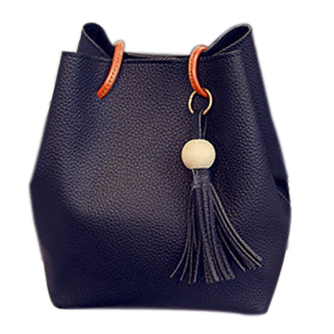 4c12752788 Image Unavailable. Image not available for. Color  QZUnique Women s PU  Leather Crossbody Bag Bucket Handbag Shoulder Bag Tassel Tote Bags