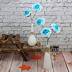 Marry Acting Artificial Flower Rose, 30pcs Real Touch Artificial Roses for DIY Bouquets Wedding Party Baby Shower Home Decor (Gradual Flower Blue) 5