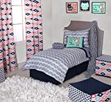 Bacati Emma Aztec Triangles Cotton Muslin 4 Piece Toddler Bedding Set, Coral/Mint/Navy
