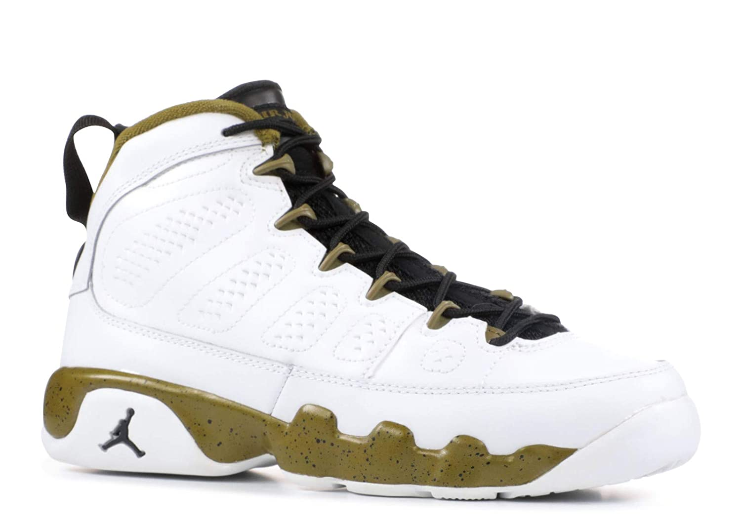 Jordan Big Kids Air 9 Retro BG White//Black//Militia Green