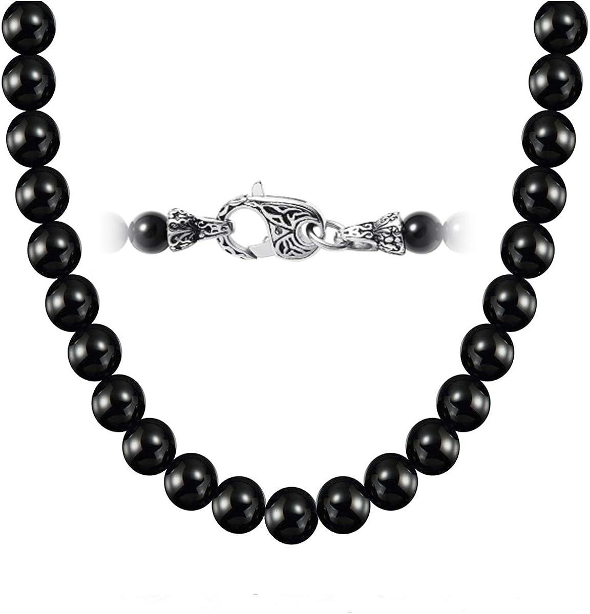 Masarwa Collier pour Homme avec Perles en Onyx Naturelles Noires 8 mm et Pierres pr/écieuses 50 cm livr/é avec bo/îte Cadeau