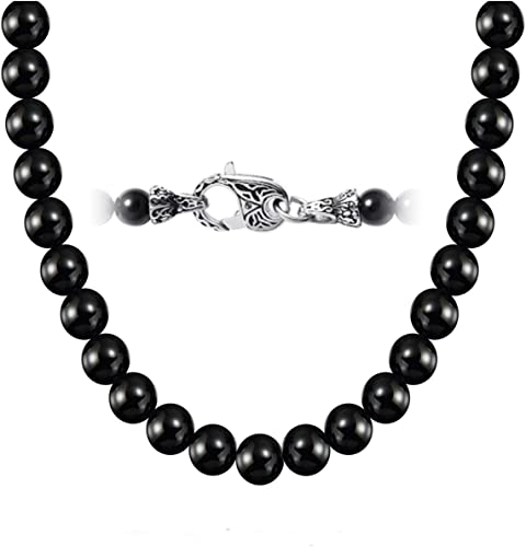 BLACK Short pearl beads necklace 45 cm with free bracelet and earrings