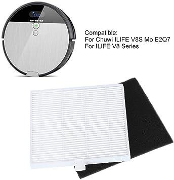 eecoo Piezas de Repuesto para filtros de aspiradora para Chuwi ILIFE V8S Robot Mo E2Q7,8pcs Kit de Filtro de carbón Activado Accesorios, Buena Estabilidad y Durabilidad: Amazon.es: Hogar