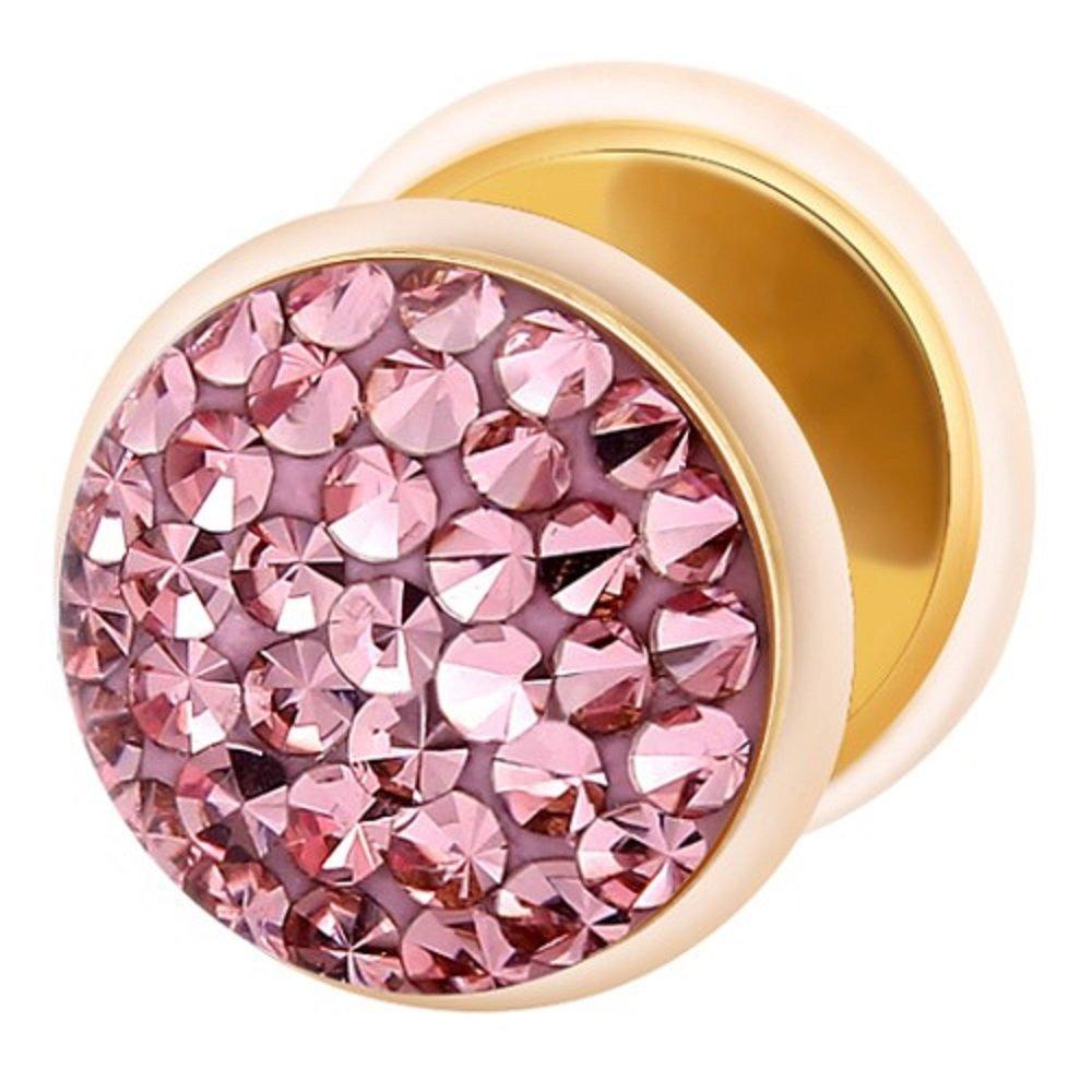 Dilatador Falso Piercing Plug Dorado, Pendiente, Multi Cristales Rosa Claro: Amazon.es: Joyería