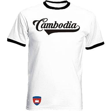 Kambodscha Ringer Retro TS - weiss - WM 2018 T-Shirt Trikot Look (S