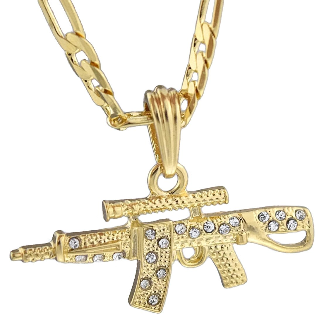 """Bling Cartel AK-47 Iced Gun Pendant Rifle Gold Plated Necklace 24"""" Hip Hop Figaro Chain"""