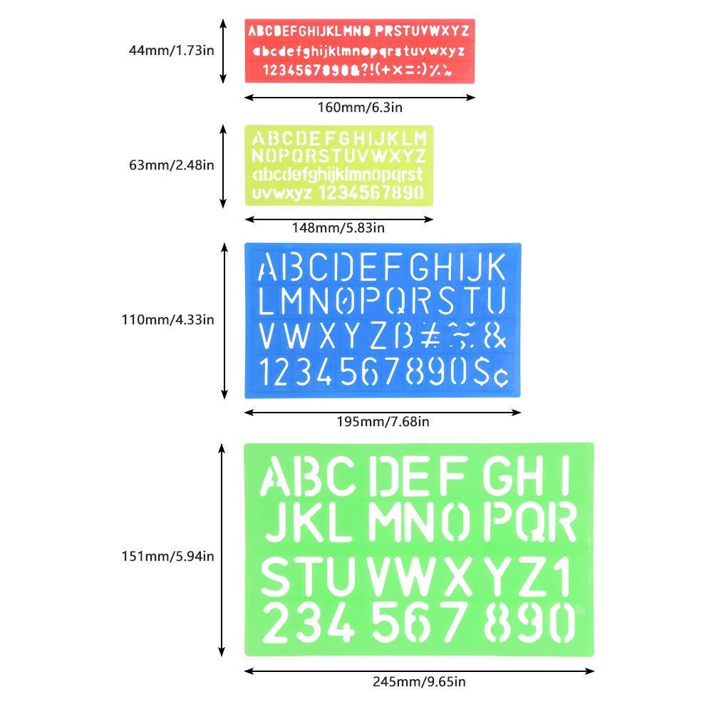 e6be093449 YOTINO Stencil Lettere 4 Pezzi Normografo Stencil di Alfabeto per Scrivere  Disegno e DIY per Bambini e Studenti, Regalo: Amazon.it: Casa e cucina