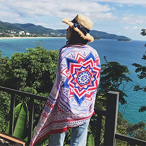 Cotton And Linen Travel Silk Scarf Holiday Sunscreen Air Conditioning Large Shawl Female Beach Towel E1 180X100Cm