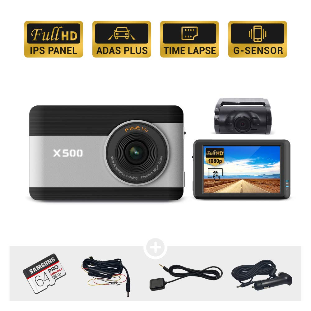 "Hardwiring Cable Samsung 64GB MicroSD Included 3.5/"" Touch Screen IPS Night Vision ADAS Plus Time Lapse G-Sensor Front and Rear Full HD 1080P FineVu X500 Dash Cam"