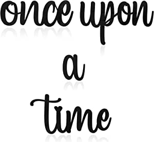 Once Upon a Time Wood Sign Decor Wooden Story Quotes Hanging Wall Plaque Time Hanging Wood Sign with Hooks for Kids Room Living Room Bedroom Bookshelf Birthday Present Home Decor