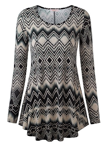 Zig Zag Knit Top (WAJAT Women's Long Sleeve Round Neck Flared Printed A-Line Round Hem Tunic Top Grey Zigzag XL)