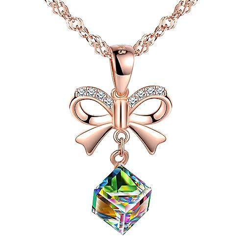 4b01c83b2d2b7 SIXLUO Collier femme fille, en 925 argent sterling, pendentif de nœud  papillon, cristal