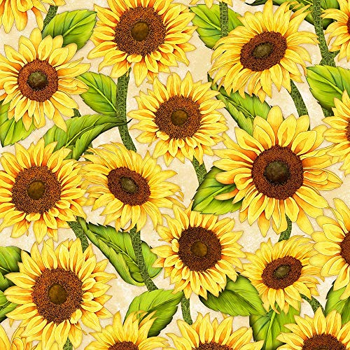 (Jardin Du Soleili Tan Sunflowers 32061-257 from Wilmington by The Yard )