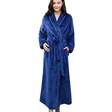 7ed9c09696 HUIFEI Flannel Bathrobes for Men and Women Long Thick Coral Fleece Robes  Warm Pajamas (Color