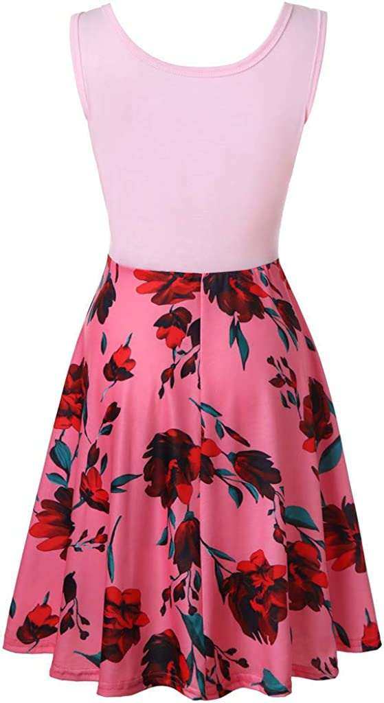 ZoePets Womens Sleeveless Printed Dress Solid Color Top Vintage Printed Skirt Pleated Hem Banquet Dress