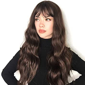 Vigorous Long Wavy Wigs For Women Dark Brown Wigs With Bangs Synthetic Medium Length Wig Heat Resistant Natural Looking Wig For Daily Party Use Beauty