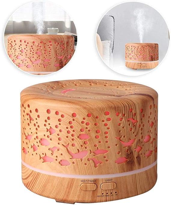 エッセンシャルオイルディフューザー、700 ml木製穀物アロマディフューザー超音波アロマディフューザー7色を変更する夜の静かなディフューザーアロマオフィス/ホーム(米国プラグ)
