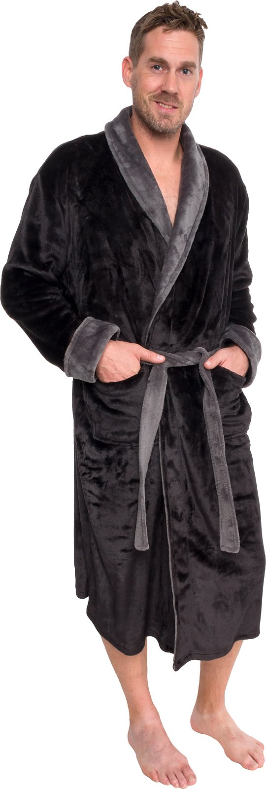 Ross Michaels Mens Plush Shawl Collar Kimono Bathrobe Robe (Black & Grey, S/M)