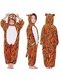 "LONGTEN Kid Animal Pajamas Halloween Christmas Cosplay Costume Onesies Homewear Nightclothes Sleepwear Unisex (No Shoes) (XXL (Height:51.2-55.1""/130-140cm), Tiger)"
