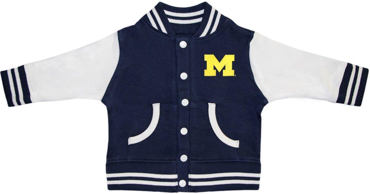 University of Michigan Wolverines Block M Varsity Jacket Navy by Creative Knitwear