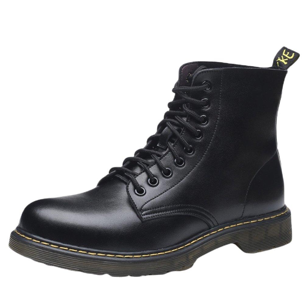 YuanDian Herren Winter Halbstiefel Stiefeletten Knöchel Kunsleder Martin Stiefel Worker Boots Vintage Combat Wasserdicht Schlupfstiefel Boots Schwarz