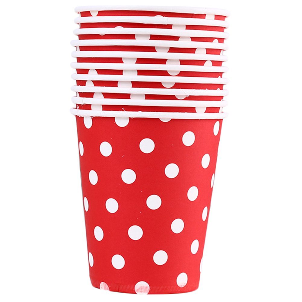 Da.Wa 10 x Cute Dots Paper Cups Hot Drinks Disposable Tea Cup Coffee Drink Paper Cup Wedding Party Supplies 250ML (Blue)