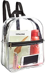 Stadium Approved Clear Mini Backpack, Heavy Duty Cold-Resistant Transparent PVC Backpack with Work, Security Travel & Stadium(Black)