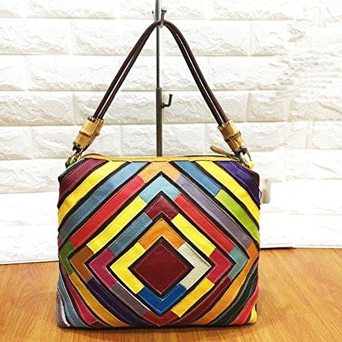 A Donna Yjiujiu Di Tote Colorblock Tracolla Da Diamante Bag Pelle Forma Borsa In Spalla naaX07qg