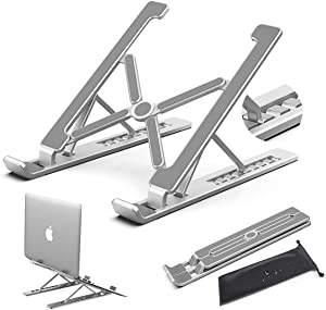 Nestns Laptop Stand, Portable Laptop Stand Adjustable Height Honder, Folding Aluminum Cooling Laptop Stand, Ergonomic Laptop Stand, Compatible with MacBook, Air, Pro, More 10-18 Inch Computer Stand