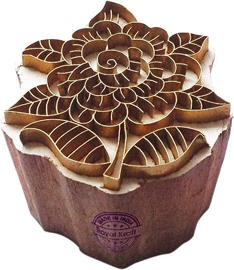 Hand Carved Printing Stamp Barss Lotus Designs Wood Pottery Block