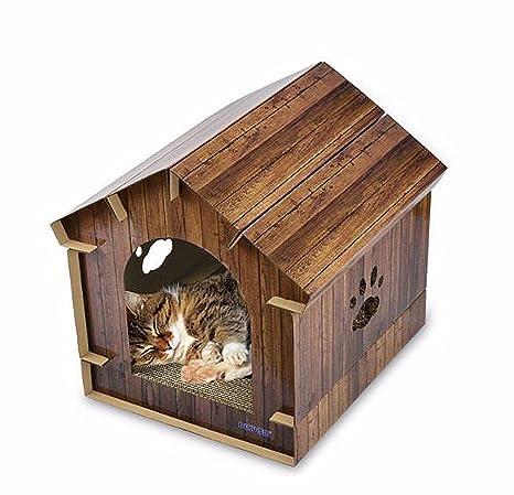 HPASS Tumbona de cartón corrugado para gatos con almohadilla para arañazos, duradera, ecológica,