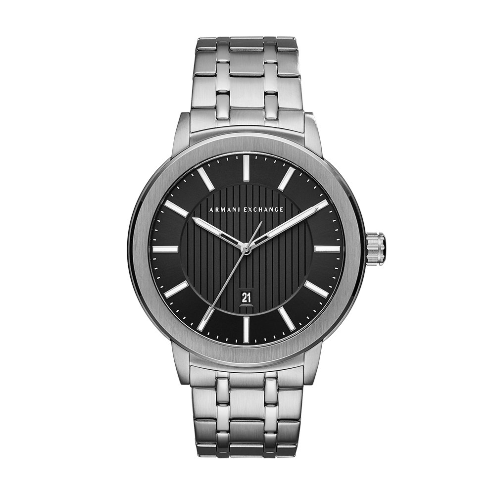 Armani Exchange Men s Three-Hand Date Silver-Tone Stainless Steel Watch AX1455