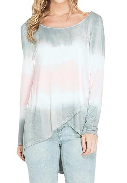 Primavera y Otoño Mujeres Tops Casual Cuello Redondo Camisetas de Manga Larga Tees Jumpers Moda Gradiente Irregular T-Shirt Blusa Túnicas Sudaderas: ...