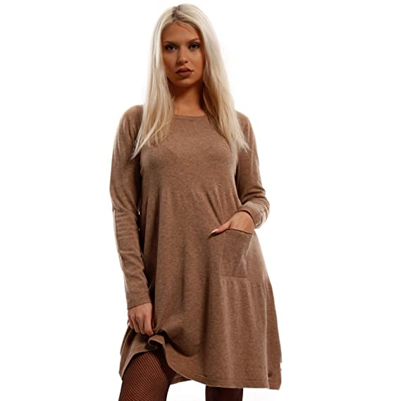 Young Fashion Damen Oversize Strickkleid Long Pullover mit Rundhals Ausschnitt und Einschubtaschen Freizeitkleid Herbst Winter Jumper One Size