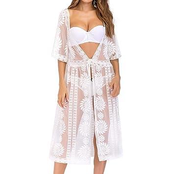 Qiusa Traje de baño Cubrirse para Las Mujeres Playa Loreal Root Kimono Bikini Tanga Crochet para ...