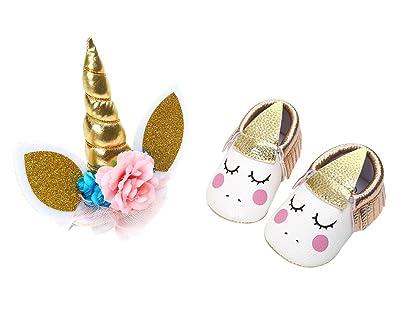 Amazon.com: Vanbuy Baby Girl Shoes Infant Soft Sole Crib Shoes Moccasins with Unicorn Headband Set: Shoes