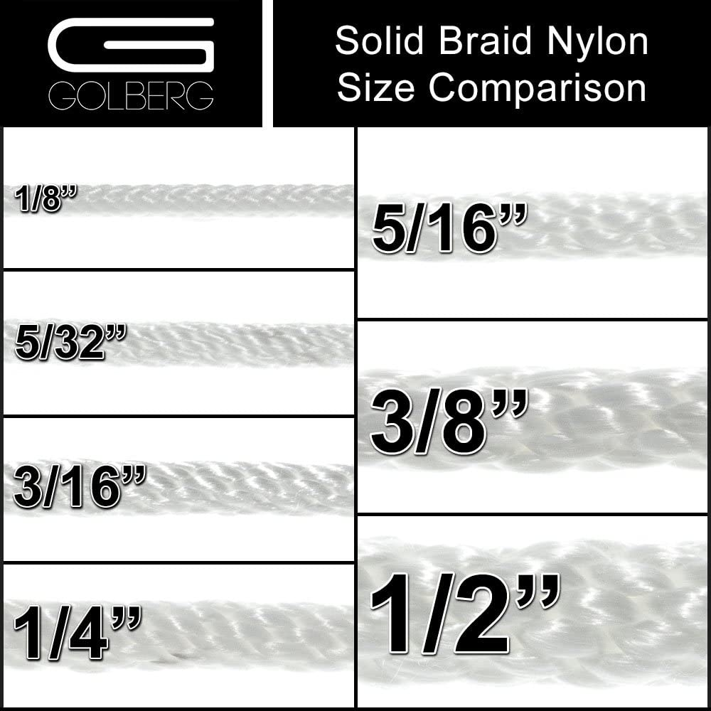 and 1//2 inch Diameters 3//16 GOLBERG Solid Braid Nylon Rope in 1//8 5//32 1//4 5//16 3//8 Several Lengths