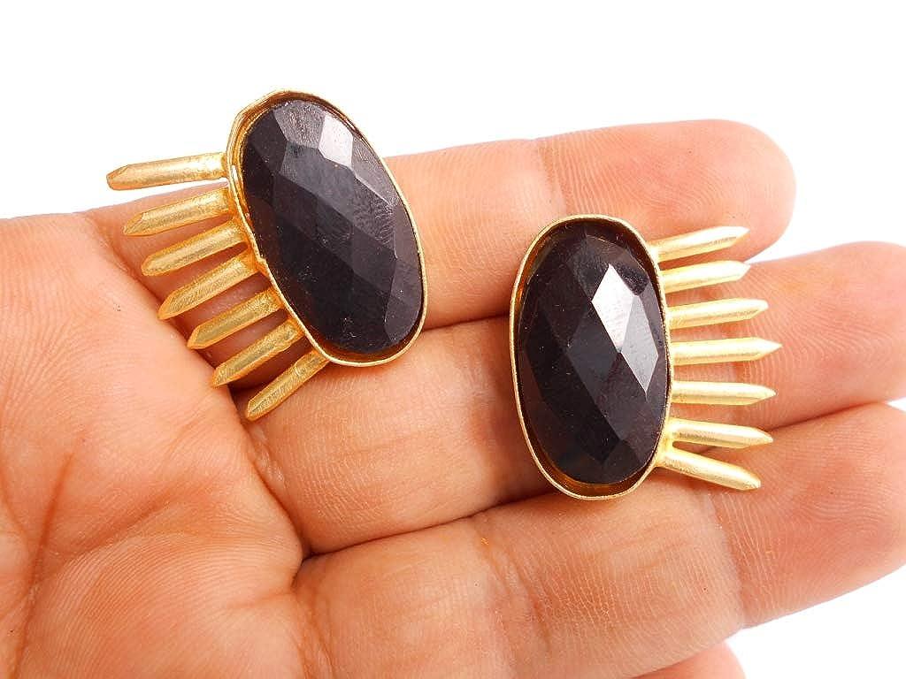Ethnic Handmade Black Onyx Golden Plated Earring 0609/_29