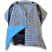 2 in 1 Carseat Canopy and Nursing Cover Up with Peekaboo Opening   Large Infant Car Seat Canopy for Girl or Boy   Best Baby Shower Gift for Breastfeeding Moms   Grey Herringbone Pattern and Blue Minky