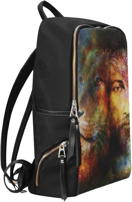 Book Bag Blessed Jesus with A Lion in Cosimc Space Backpack