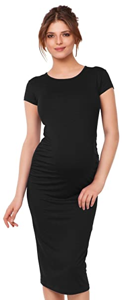 Happy Mama Womens Maternity Stretch Bodycon Dress Short Sleeve