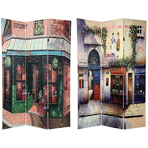 Oriental Furniture 6 ft. Tall Double Sided Parisian Street Room Divider (Frame Pedestal Poster)