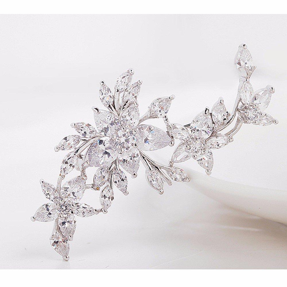 GULICX Broche Fleur Femme Plaqu/é Argent Zirconium Pour v/êtement,robe,/écharpe
