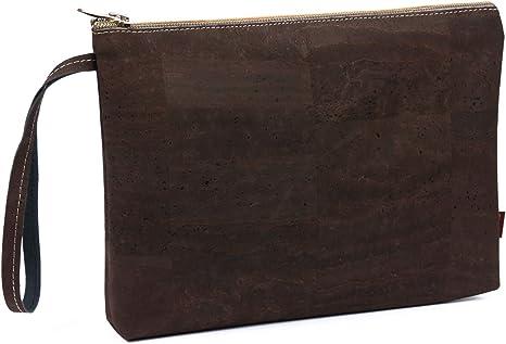 SIMARU Elegante Bolso de Mano Hecho de Moderno Corcho/Piel de Corcho, Bolsa Porta-Documentos con Cremallera, Monedero, Neceser, Cartera tamaño A5 Unisex (marrón)