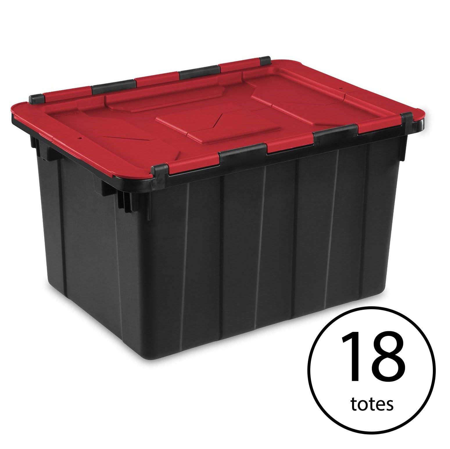 Sterilite 12 Gallon/45 Liter Hinged Lid Industrial Tote, Red Lid (18 Pack)