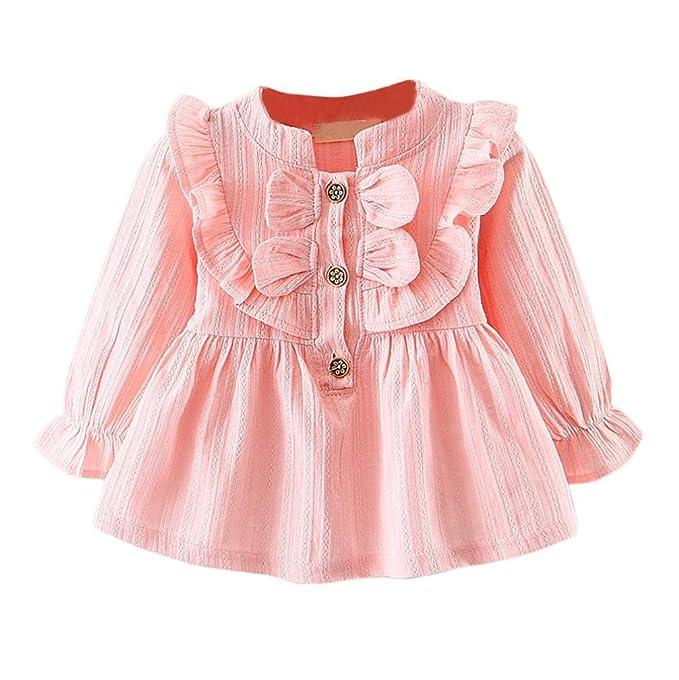 Amazon.com: jujunx vestidos de niña, bebé Bowknot Ropa manga ...