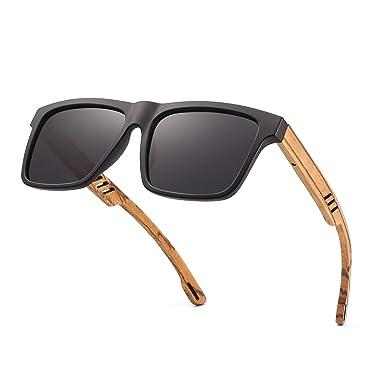 e60783546f Divvsck Zebra Wooden Sunglasses with Polarized Lenses in Bamboo Tube  Packaging (Black Frame Gray