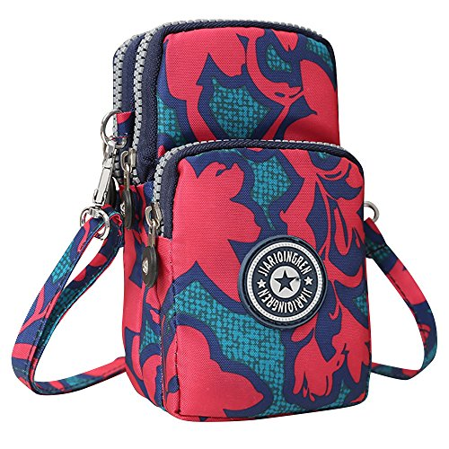 Wocharm Maple Crossbody Shoulder Leaf Mini Handbag Layers Red Wristlet Messenger 3 Purse Womens Px4OwqWgrP